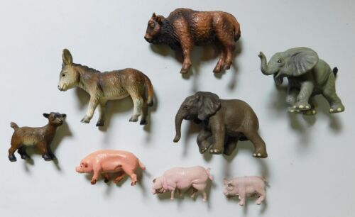 Schleich Animals American Bison Donkey Elephant Goat Lot