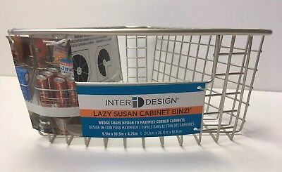 InterDesign Lazy Susan Storage Basket Binz With Handle Cabinet Organizer Small for sale  Columbus