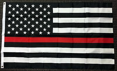 3X5 First Responder Usa American Fire Dept  Department Red Line Flag 3X5