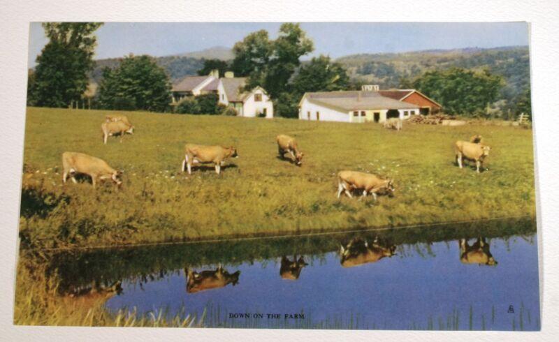 VTG 1950s CALENDAR ART LITHOGRAPH PRINT COWS DOWN ON THE FARM