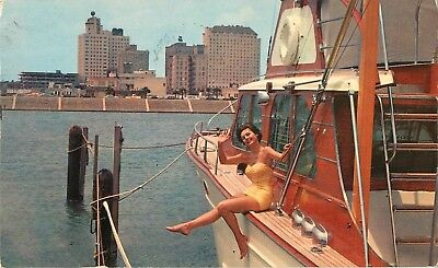 1963 Pretty Girl on Pretty Boat, Corpus Christi, Texas Postcard