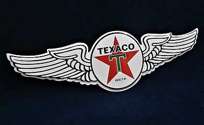 TEXACO Wings -*US MADE*- Die-Cut Embossed Metal Sign - Man Cave Garage Shop Bar
