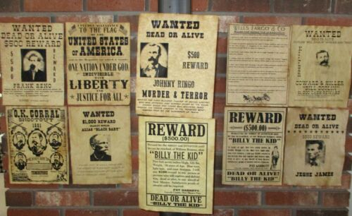 Pledge of Allegiance OK Corral Billy the Kid Old West Wanted Posters Jesse James