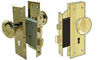 Door Brass Locks Antique Vintage Hardware Set Knob Mortise 2-1/4 in Handle New