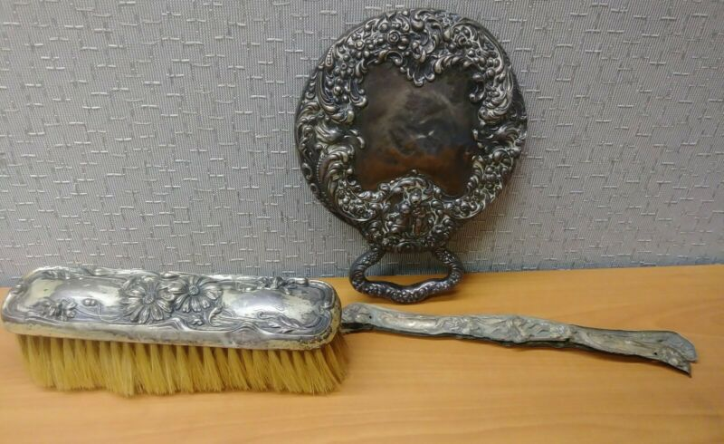 Antique UNGER BROS. Sterling Silver Repousse Hand Mirror with Sterling Brush Set