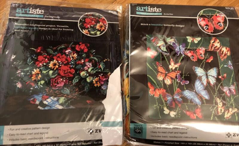 Zweigart Artiste Butterfly Garden Flowers Needlepoint Kit LOT OF 2! New! Rare