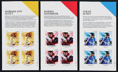Canada 2705-7 Top Booklet Panes MNH Winter Olympics, Scott, Burke, Schmirler