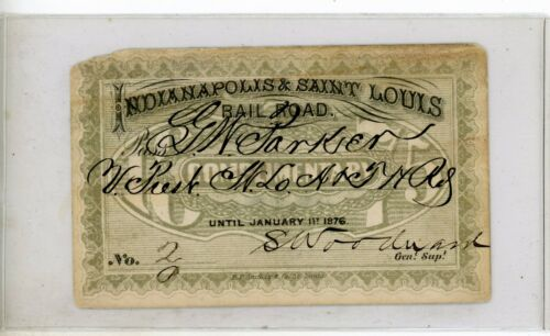 1876 Indianapolis and Saint Louis Railroad pass