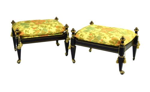 Vintage Pair Directoire Style Ebonized Stools Ottomans w Chintz Upholstery