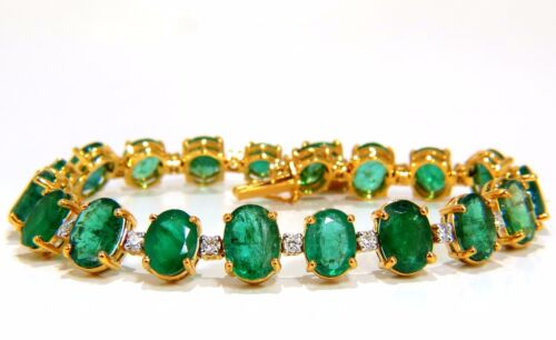 Emerald Bracelet 27.42ct & .75ct Diamonds Classic Tennis 14kt. Natural Greens+