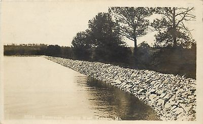 Trenton Missouri Stone Bank  Trees Along Reservoir 1918 Real Photo Postcard