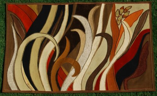 Vintage 1979 Helen Webber Signed 16/100 Abstract Fabric Tapestry Wall Art 75x46