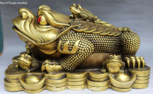 Chinese Pure Bronze Fengshui Spittor Gold Toad Animal Wealth Yuanbao Coin Money