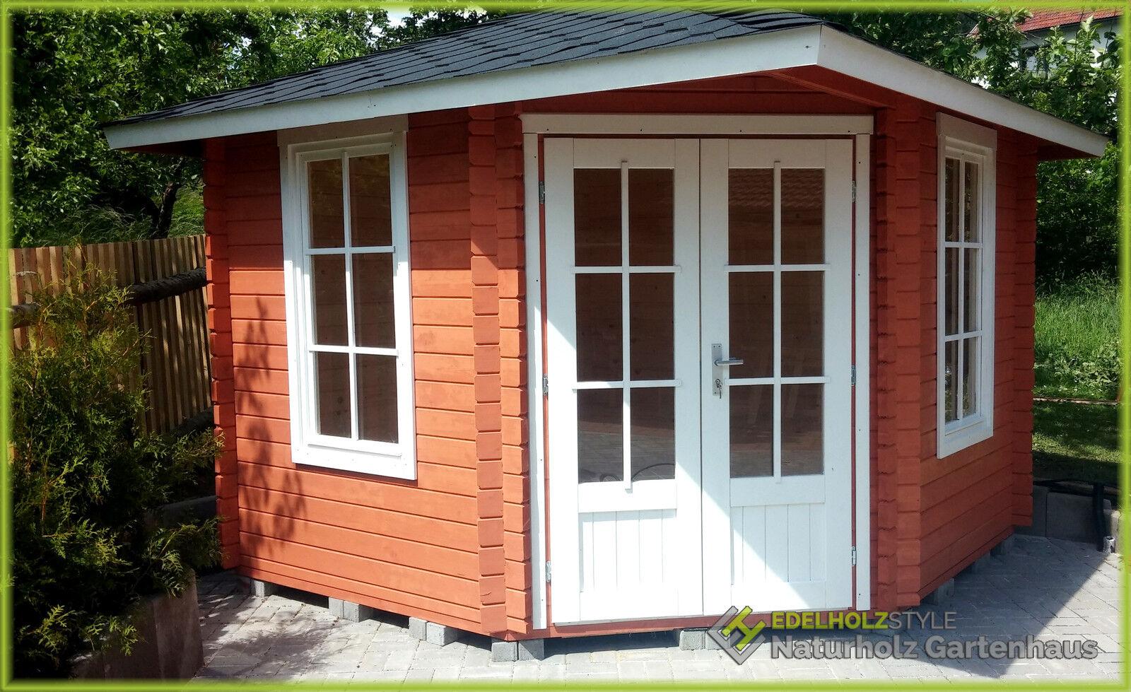 Gartenhaus aus holz mit fu boden blockhaus for Blockhaus gartenhaus