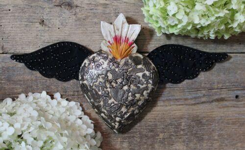 Handmade Wood White Heart Milagro & Tin Wings Miracle Mexican Folk Art Michoacán