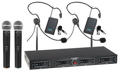 DJ PA UHF Funk Mikrofon Set Wireless Headset Taschensender Lavalier kabellos