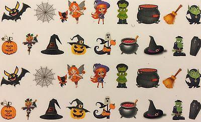 Halloween Monster Nails (Nail Art Water Decals Halloween Witch Monster Bat Fairy Cat Pumpkin Coffin)