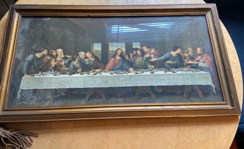 Antique The Last Supper Jesus Religious Litho Print Framed Vintage Art Tassel