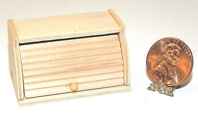 Dollhouse Miniature Bread Box Wood Roll Top 1:12 Scale