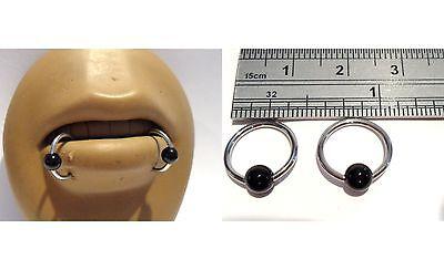 Pair Steel Black Onyx Stone Bead Lip Rings Snake Or Spider Bites 16 Gauge 16G