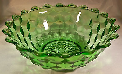 """JEANNETTE GLASS CO. CUBIST or CUBE GREEN 7-1/2"""" POINTED-EDGE LARGE BERRY BOWL!"""