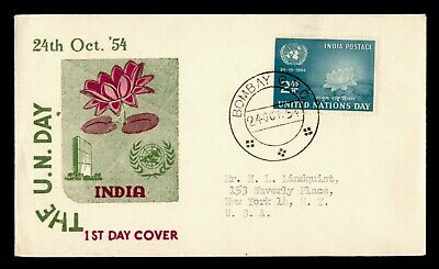 DR WHO 1954 INDIA FDC UN DAY UNITED NATIONS CACHET  g24049