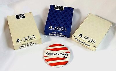 Vintage 1980's DELTA Airlines 3 Packs of Unopened Playing Cards & 1 Delta Pin