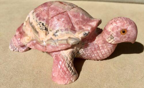 "Rhodochrosite Turtle Carving 3 1/2"""