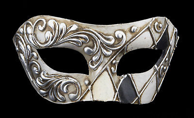 Mask from Venice Colombine Checkerboard Black Silver in Paper Chewed- 2392 -V52