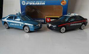 Alfa Romeo 156 Carabinieri & Polizia 1/43 1999 Italian Bburago 2 Car Set New