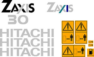 HITACHI-ZAXIS-30-MINI-DIGGER-COMPLETE-DECAL-SET-WITH-SAFETY-WARNING-SIGNS