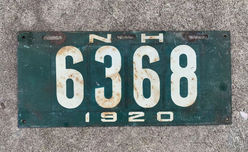 1920 New Hampshire License Plate NH Automobile TAG 6368