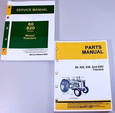 SERVICE MANUAL SET FOR JOHN DEERE 80 820 TRACTOR DIESEL REPAIR PARTS CATALOG