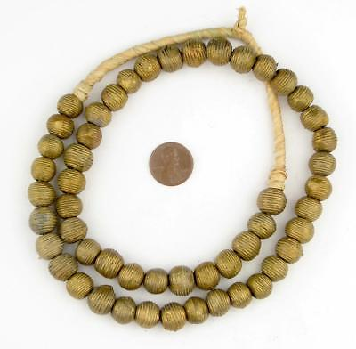 Wound Round Ghana Brass Beads 11mm African Large Hole 24 Inch Strand Handmade