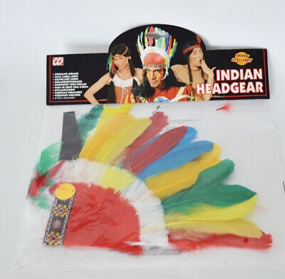 Indianer Kopfschmuck Karneval Fasching Herren Chief Multi Feder - Indian Chief Hut