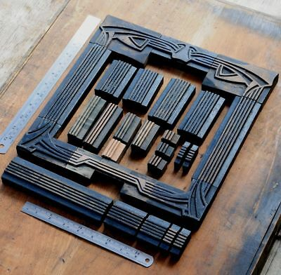 Letterpress Border Wooden Printing Blocks Ornaments Art Nouveau Vintage Wood Old