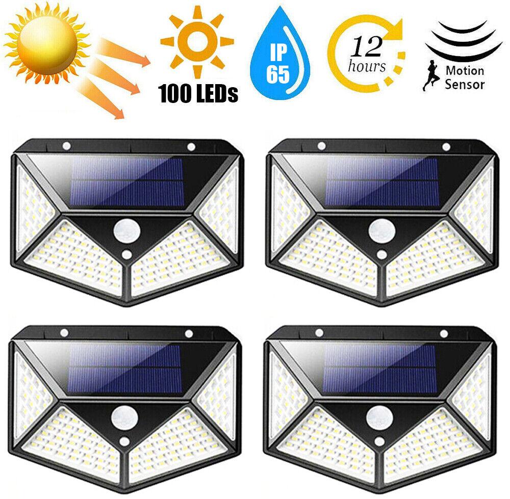 100 LED Outdoor Solar Power Motion Sensor Wall Light Waterpr