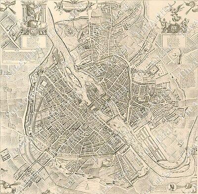 LARGE VINTAGE historic PARIS FRANCE 1609 OLD ANTIQUE STREET STYLE MAP art print