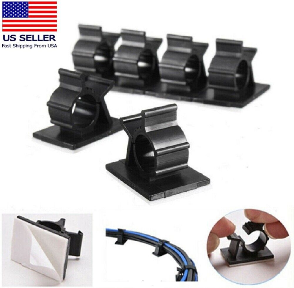 100pcs Cable Clips Self-Adhesive Cord Management Wire Holder Organizer Clamps US Cable Ties & Organizers