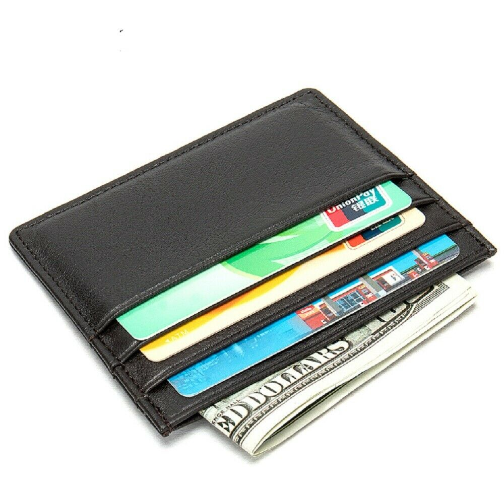 Mens Genuine Leather Silver Money Clip Slim Wallets Black ID Credit Card Holder Clothing, Shoes & Accessories
