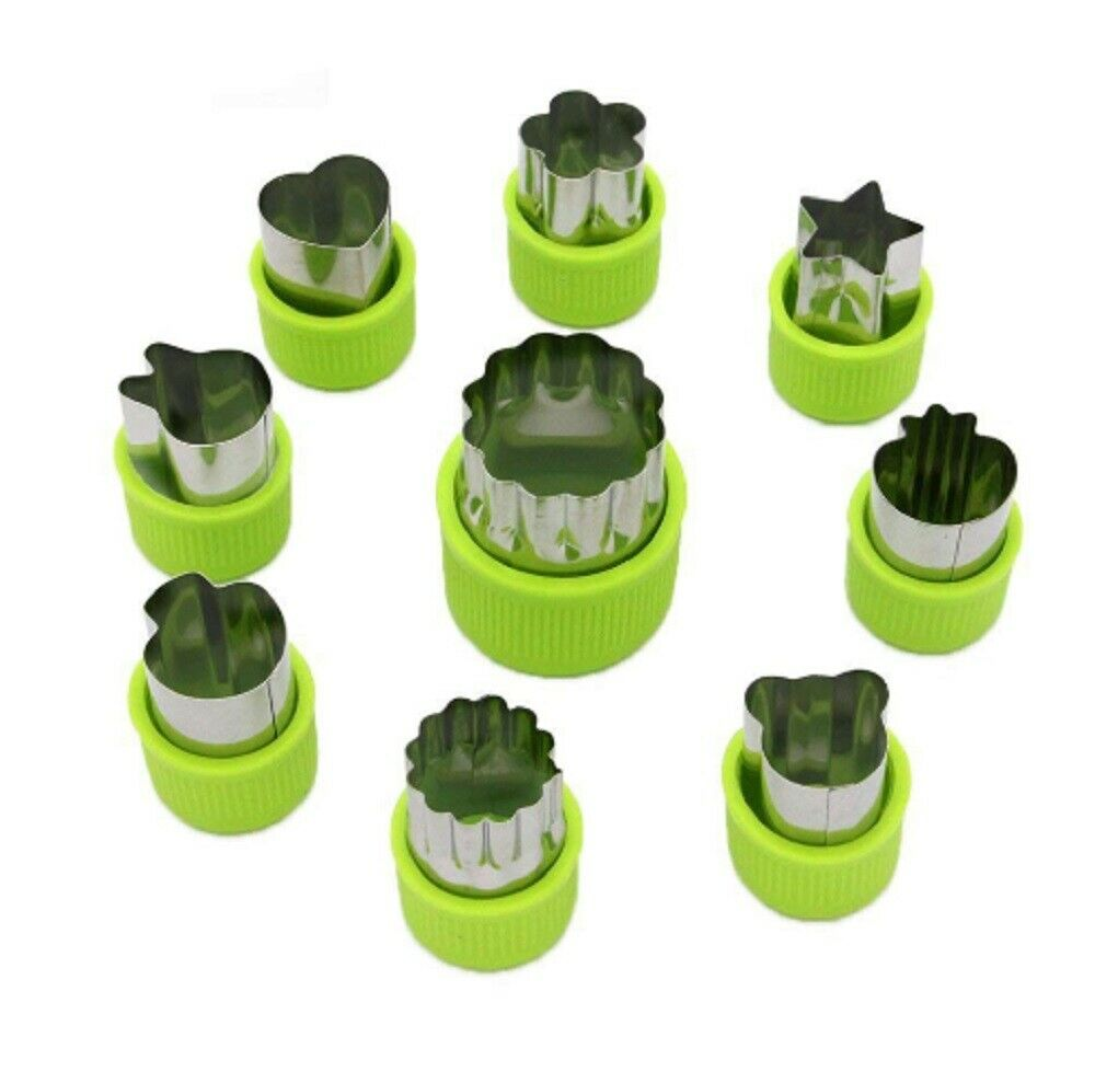 9 Pcs Stainless Steel Fruit Vegetable Cutter Shapes Set Mini Cookie Slicer Mold Baking Accs. & Cake Decorating