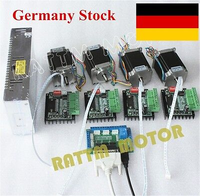【DE Stock】 4 Axis Nema23 Stepper Motor Dual Shaft 270 Oz-in+MD430 Driver CNC Kit