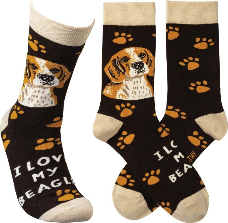 Beagle I Love My Dog Socks