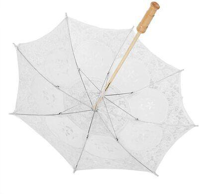 Wedding Bride Umbrella Handmade Lace Flower Embroidery Parasol Silk Large White