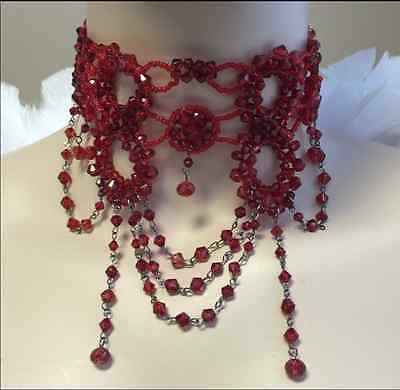 Belly Dance Necklace Choker - Red Victorian Glass Beaded Choker Necklace Burlesque Belly Dance Costume