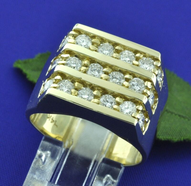 2.00 Ct 14k Solid Yellow Gold Mens Men
