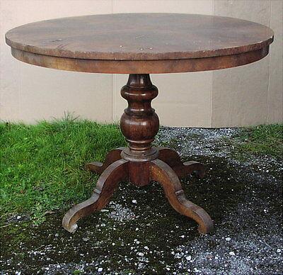 Antiker Runder Tisch aus Biedermeierzeit um 1840 Restaurierungsbedürftig