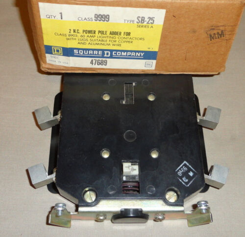 SQUARE D 9999 SB-25 NC POWER POLE ADDER 8903 60A LIGHTING CONTACTOR RELAY NEW