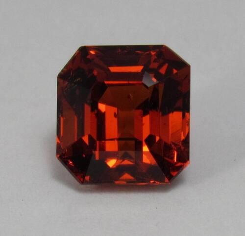 Natural Spessartite Garnet 4.02 ct. Emerald Cut, Bright Orange Red