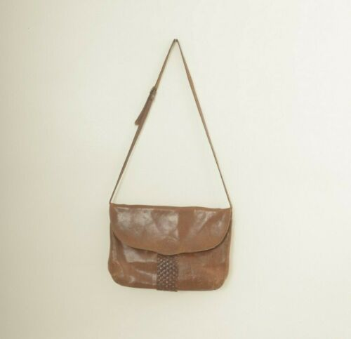 Vintage The Bridge Italian Leather Messenger Crossbody Bag Woven Detail Brown